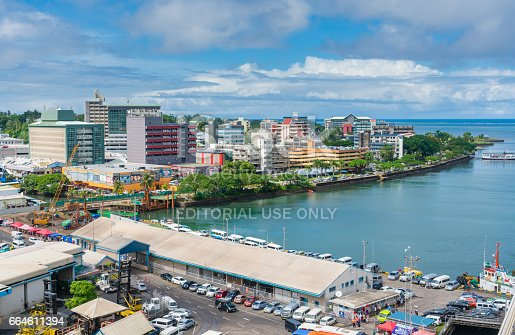 Suva, Fiji - Mar 24, 2017: View of the city centre of Suva, the capital city of Fiji