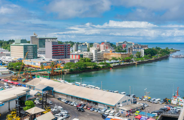 city centre of suva in fiji - fiji stock photos and pictures