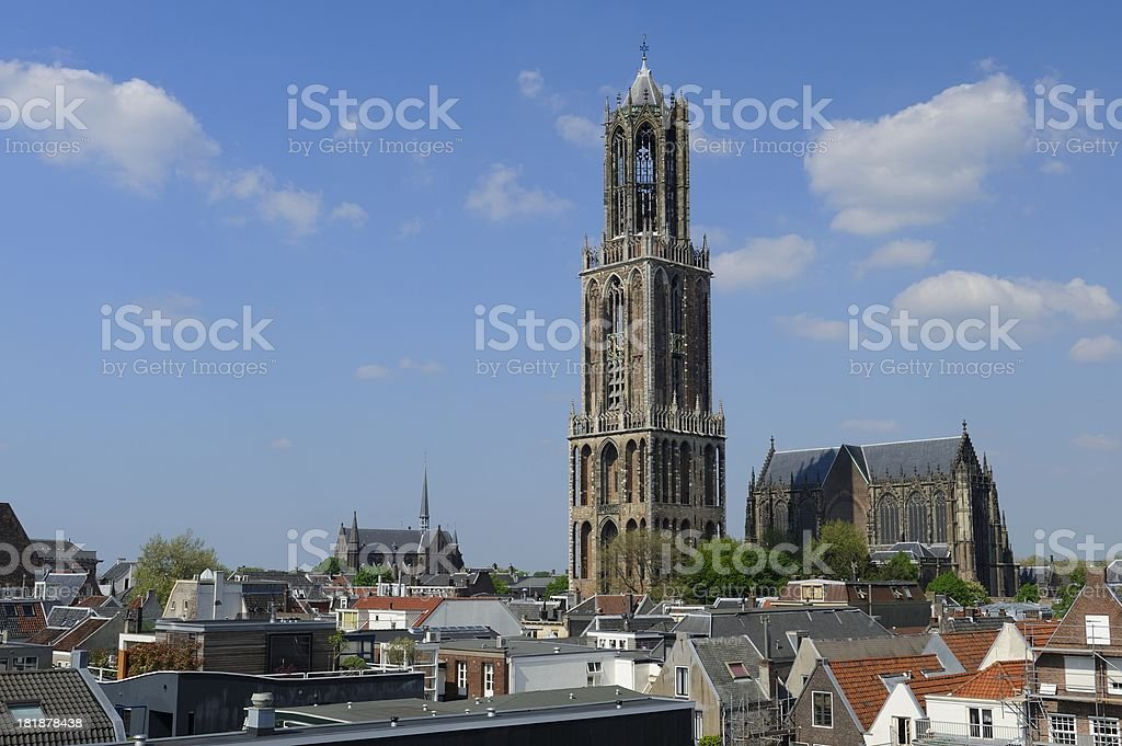 City centre of Utrecht with Dom Tower and church stock photo