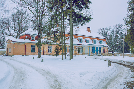 City, Cesis, Latvia. Old manor in winter.