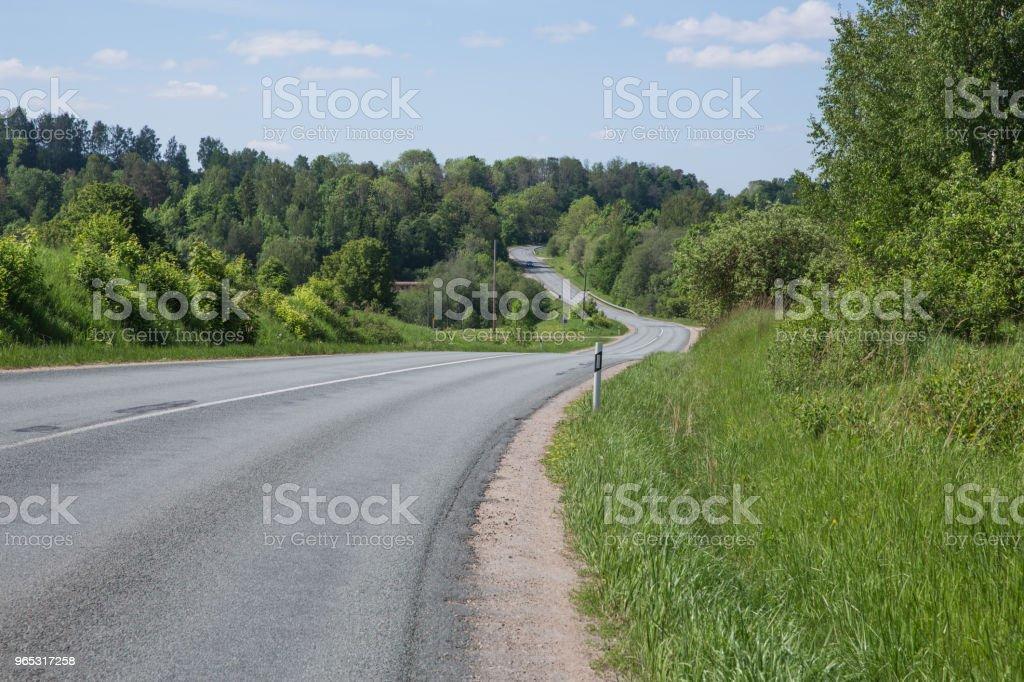 City Cesis, Latvia. Old way and trees. Blue sky and nature. Travel photo 2018. zbiór zdjęć royalty-free