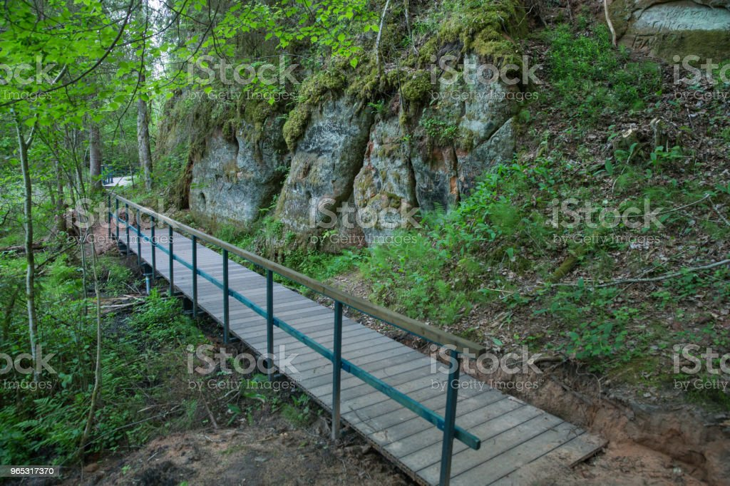 City Cesis, Latvia, red rocks and nature. View from high hill. 2018 royalty-free stock photo