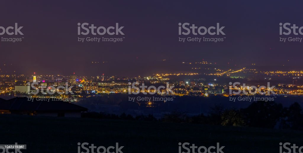 City Ceske Budejovice at night, long exposure stock photo