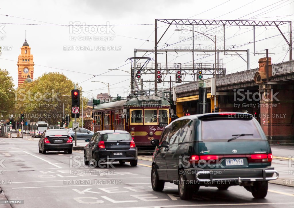 City Circle Trolley on Flinders Street in Melbourne, Australia royalty-free stock photo