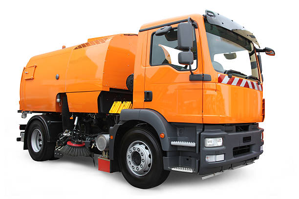 City Cleaner City cleaner truck isolated on white with drop shadow. street sweeper stock pictures, royalty-free photos & images