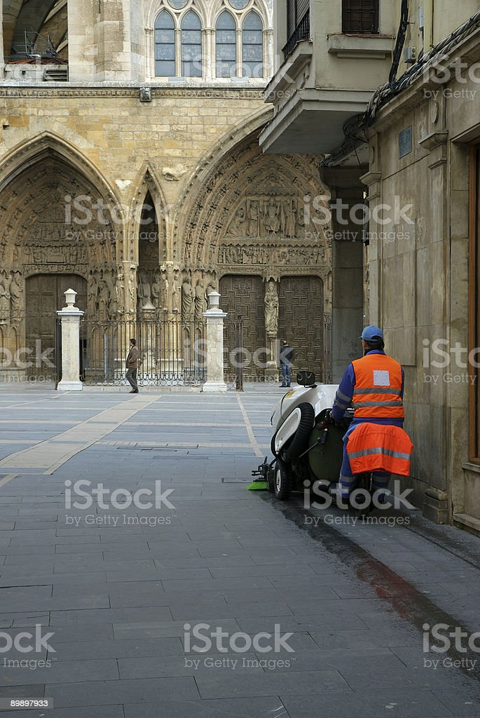 City cleaning royalty-free stock photo