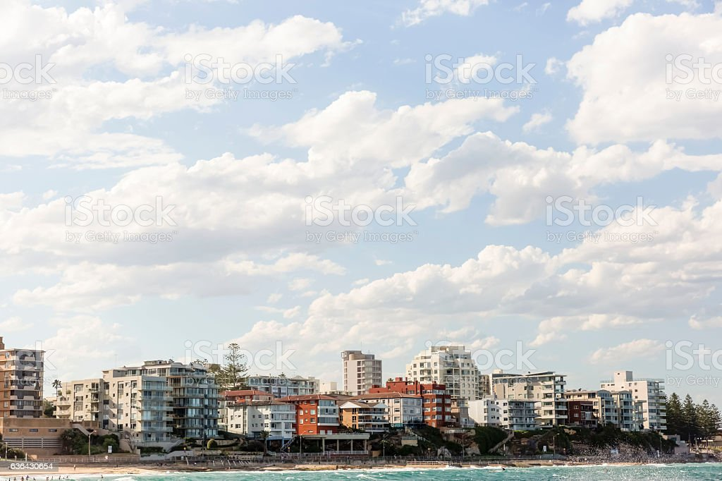City coastline, beautiful Sydney surburb Cronulla, background with copy space stock photo