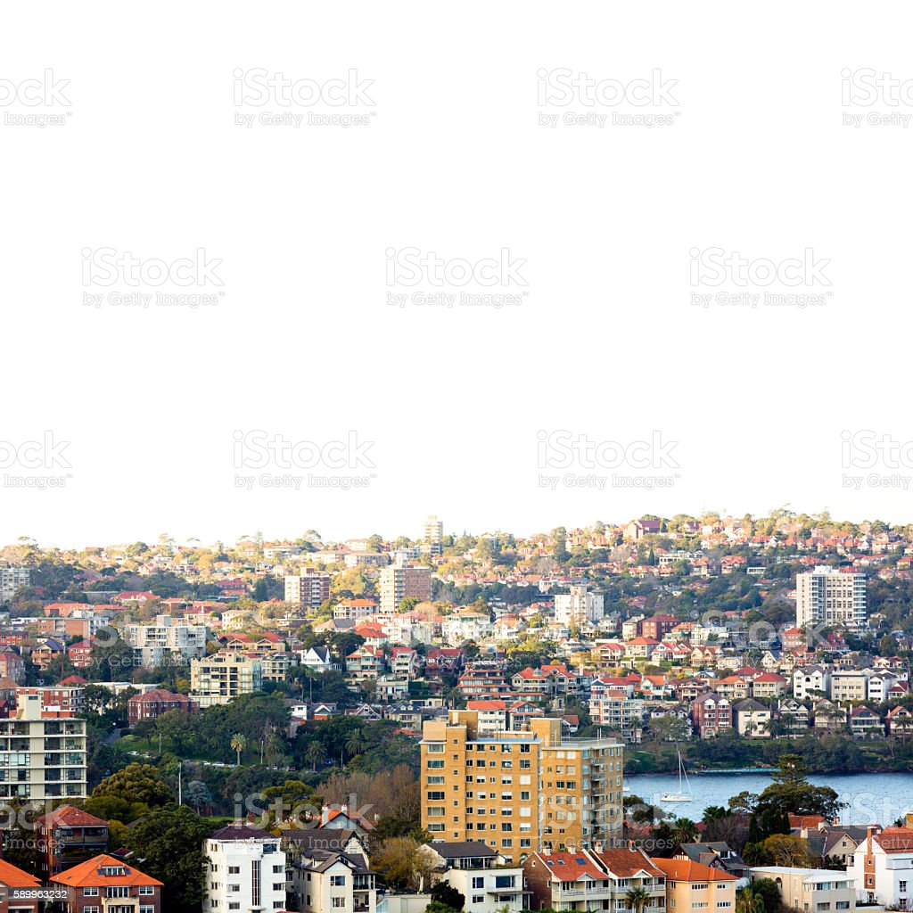 City coastline, beautiful Sydney surburbs, square background, copy space stock photo