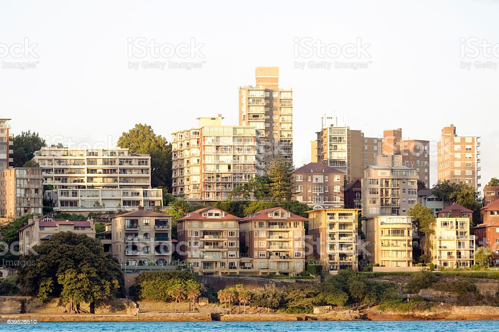 City coastline in sunset, beautiful Sydney surburbs, background, copy space stock photo