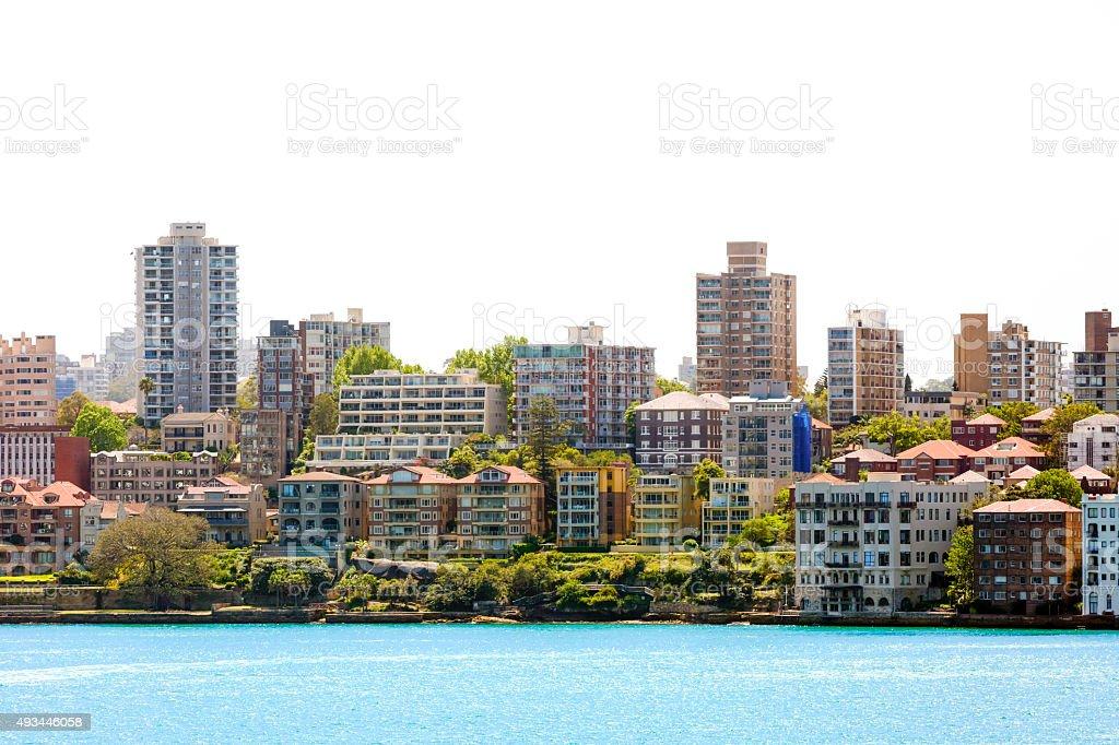 City coastline, Kirribilli surburb of Sydney Australia, copy space stock photo