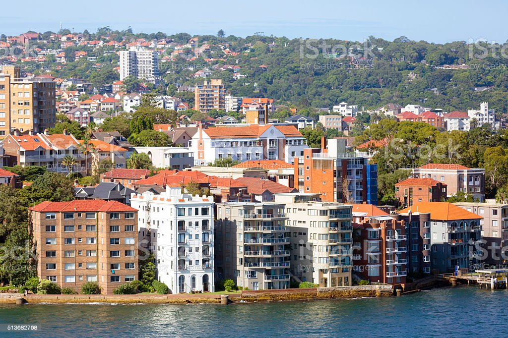 City coastline with apartmnets buildings, Kirribilli surburb of Sydney Australia stock photo
