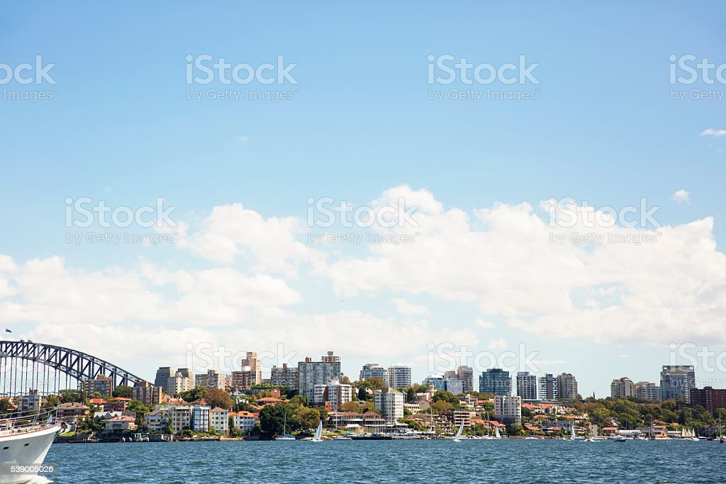City coastline with Harbour Bridge, Kirribilli, Sydney Australia, copy space stock photo