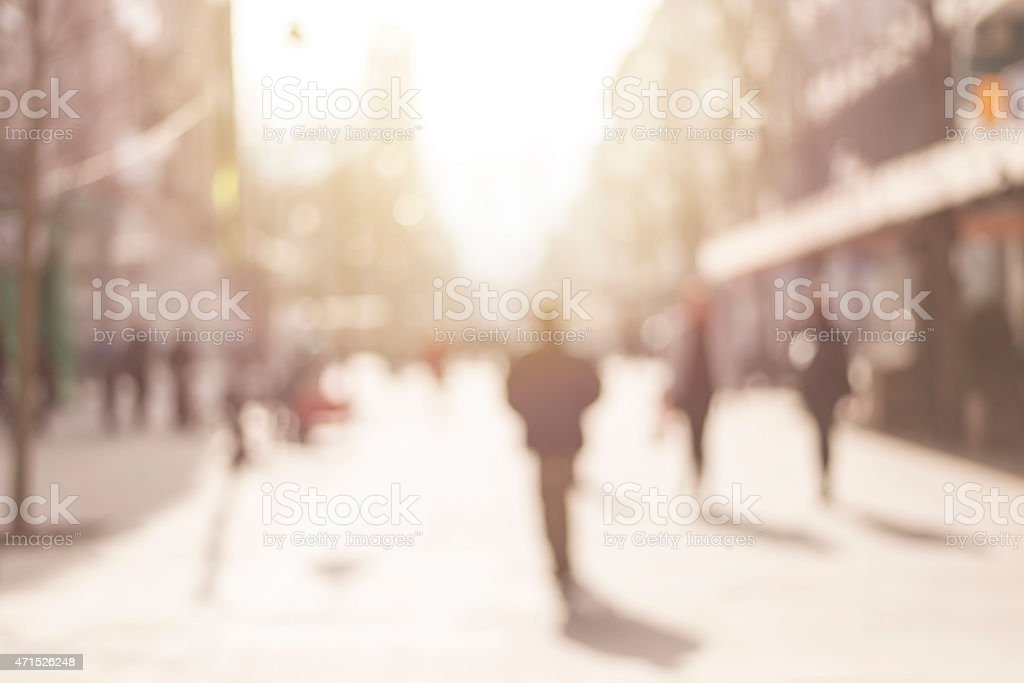 City commuters. Abstract blurred image of a city street scene. stock photo
