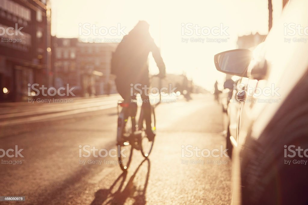 City commuters. High key blurred image of a street stock photo