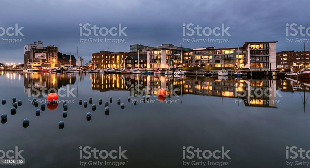 City complex at Odense harbor, Denmark stock photo