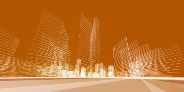 City concept 3d rendering stock photo