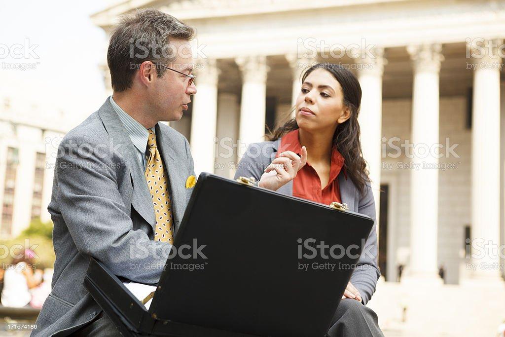 City Conversation Professional Man and Woman stock photo