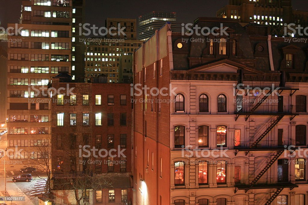 CIty cross section at night stock photo