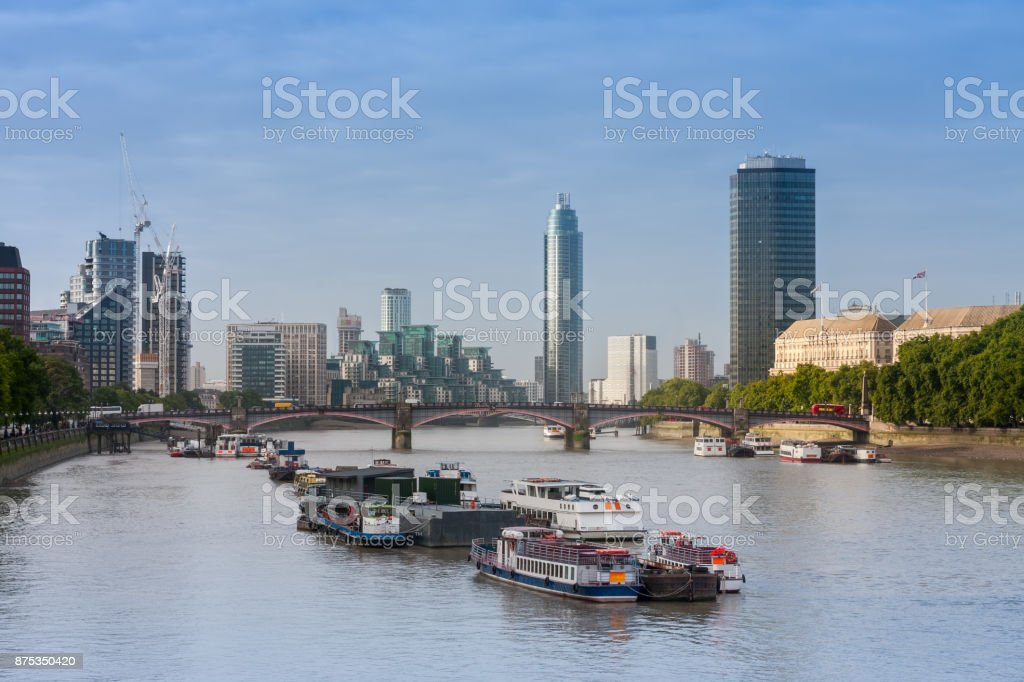 City cruise ships on the river Thames, London stock photo