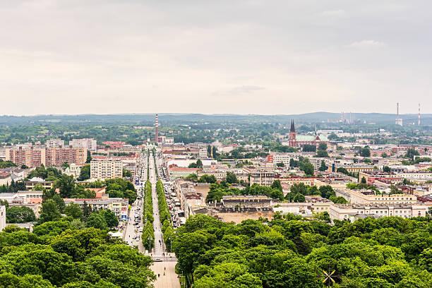 City Czestochowa view from the tower at Jasna Gora Monastery. stok fotoğrafı