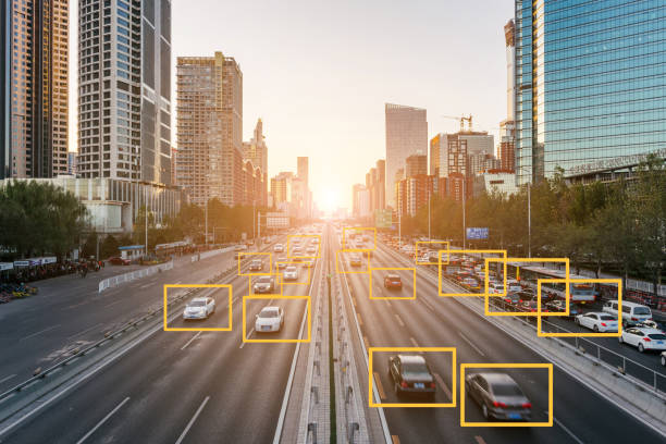 city deep learning - self driving car stock photos and pictures