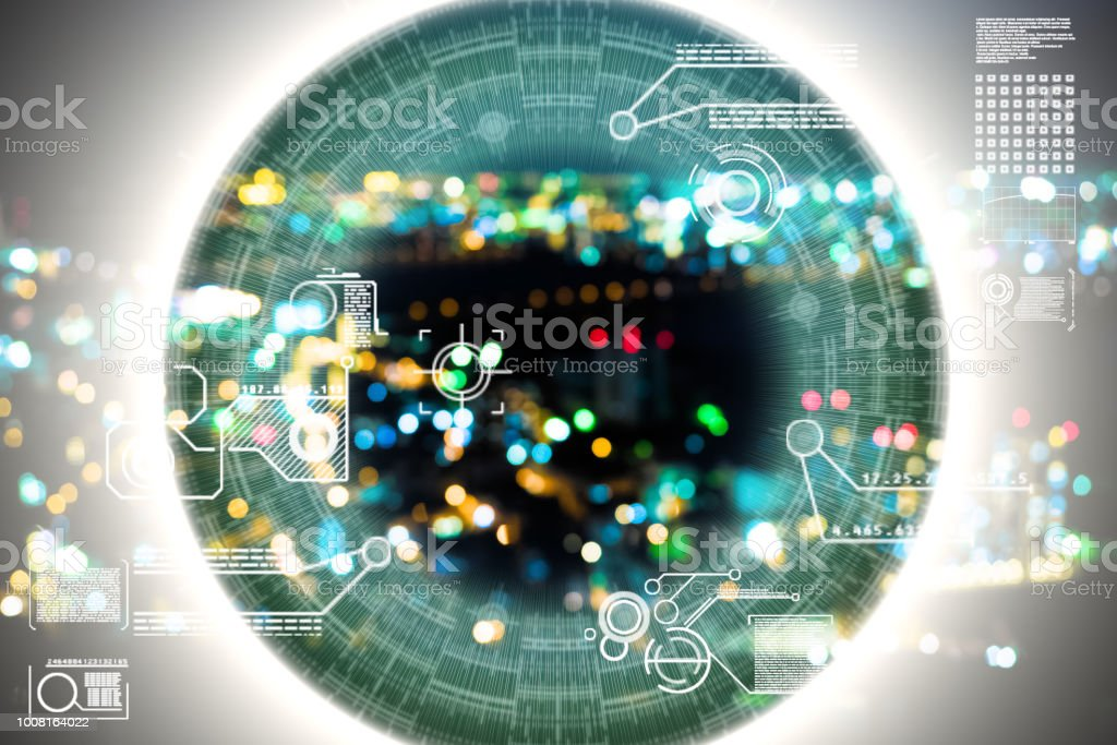 AI city defocused japan close up Artificial Intelligence technology city for backgroundsFuturistic eye, Artificial Intelligence, Globe - Navigational Equipment, DataBrain Wave, Artificial Intelligence, city.Data,Face recognition Abstract Stock Photo