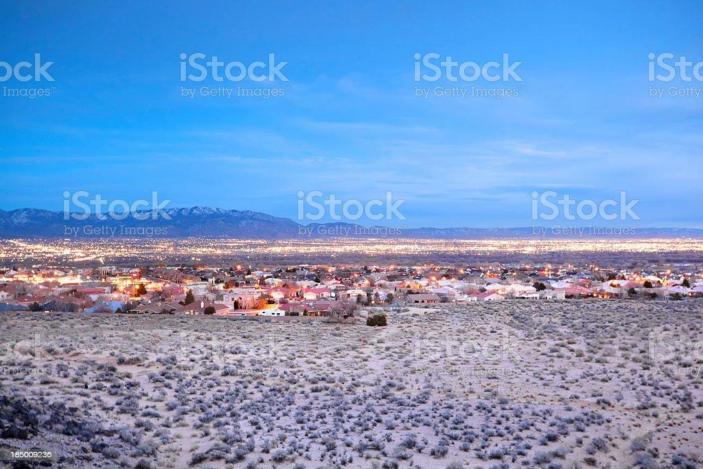 city desert landscape night stock photo