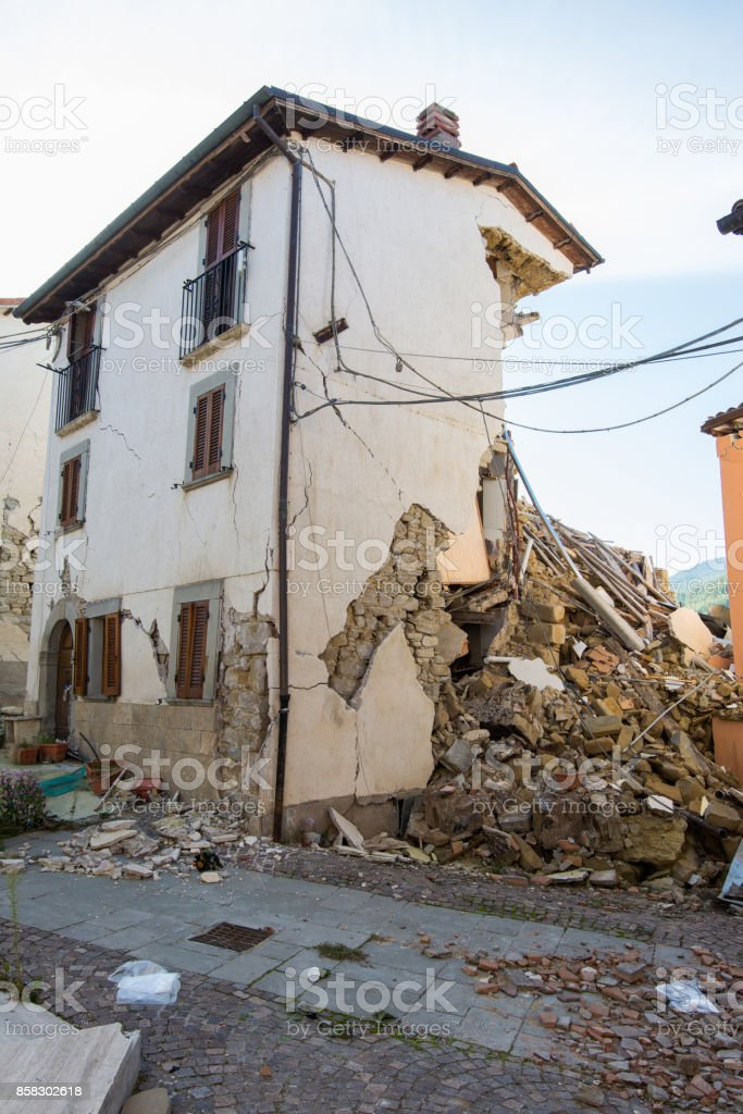 City destroyed by an earthquake stock photo