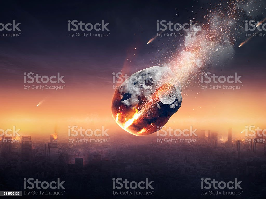 City destroyed by meteor shower stock photo