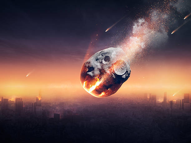 city destroyed by meteor shower - shooting stars stock photos and pictures