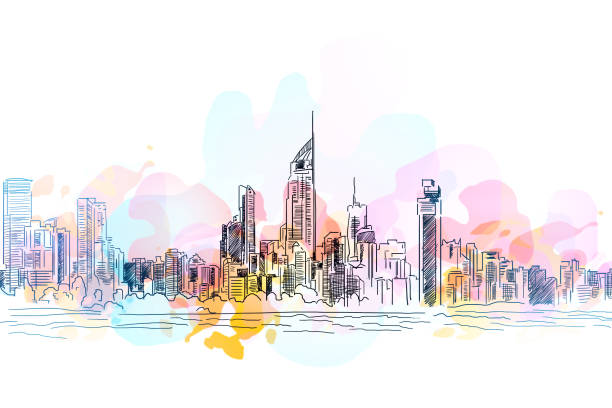 city drawing background - doodle stock photos and pictures