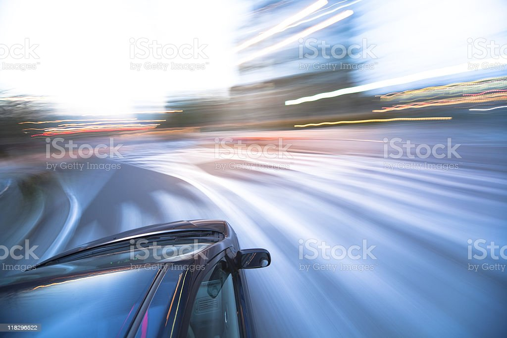 city driving stock photo