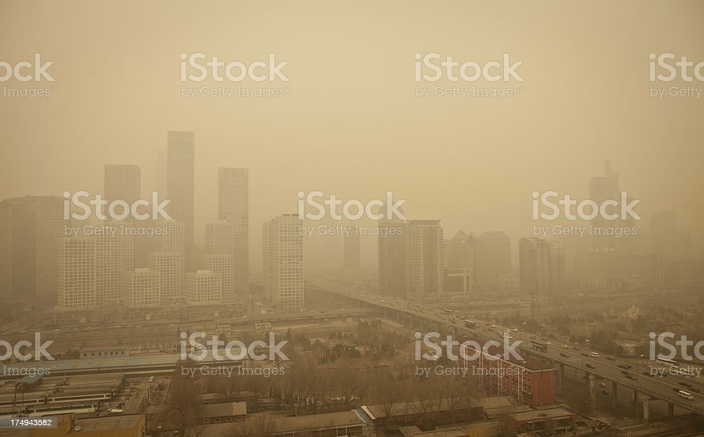 City dying in polution—beijing stock photo