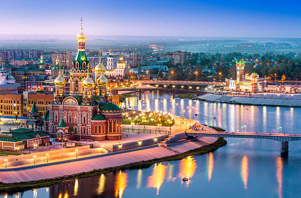 city embankment at night with illumination - russia stock pictures, royalty-free photos & images