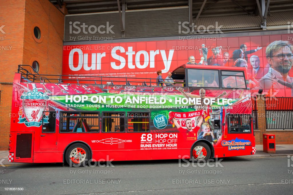 LFC City Explorer - Liverpool tour bus stock photo