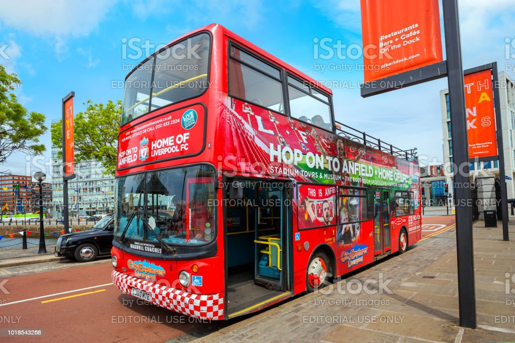 LFC City Explorer, sightseeing bus in Liverpool, UK stock photo