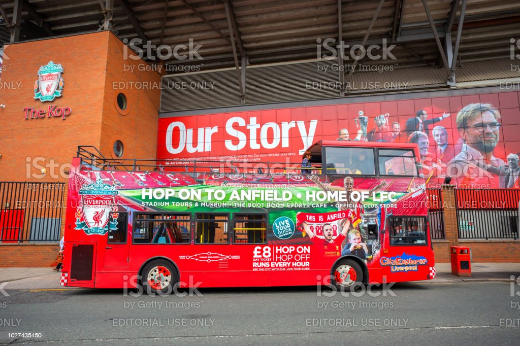 LFC City Explorer sightseeing Liverpool tour bus stock photo