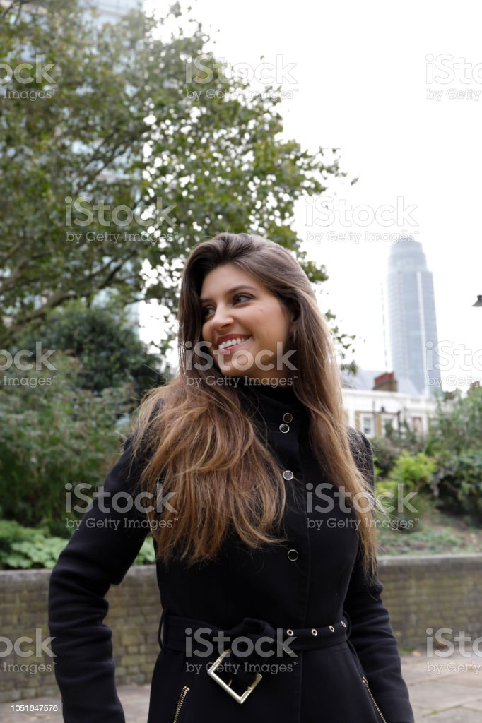 City fashion London Russian outdoor girl black outfit stock photo
