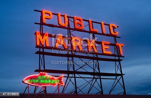 Seattle, Washington, USA - May 11, 2013: The Pike Place Public Market Neon Sign Downtown Seattle Washington