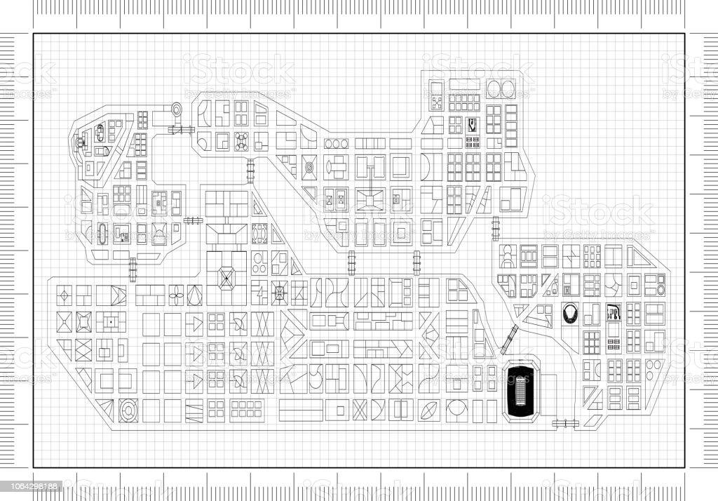 Stadt von oben Architekt Blueprint – Foto