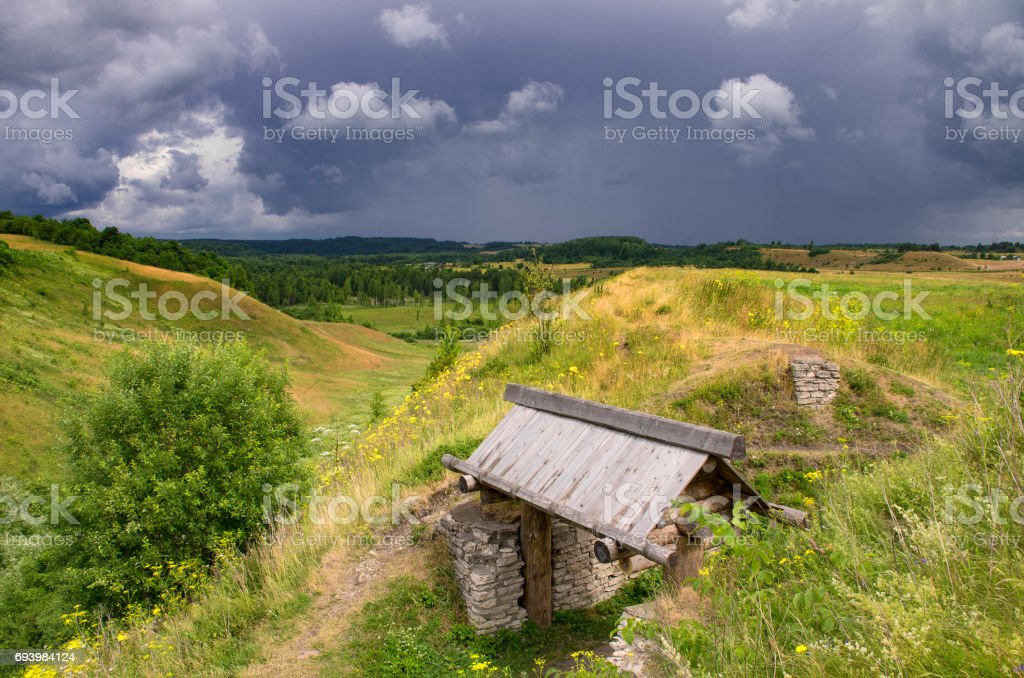 City gate and Truvorov's ruins of the ancient settlement stock photo