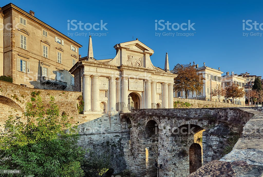 City gate, Bergamo stock photo