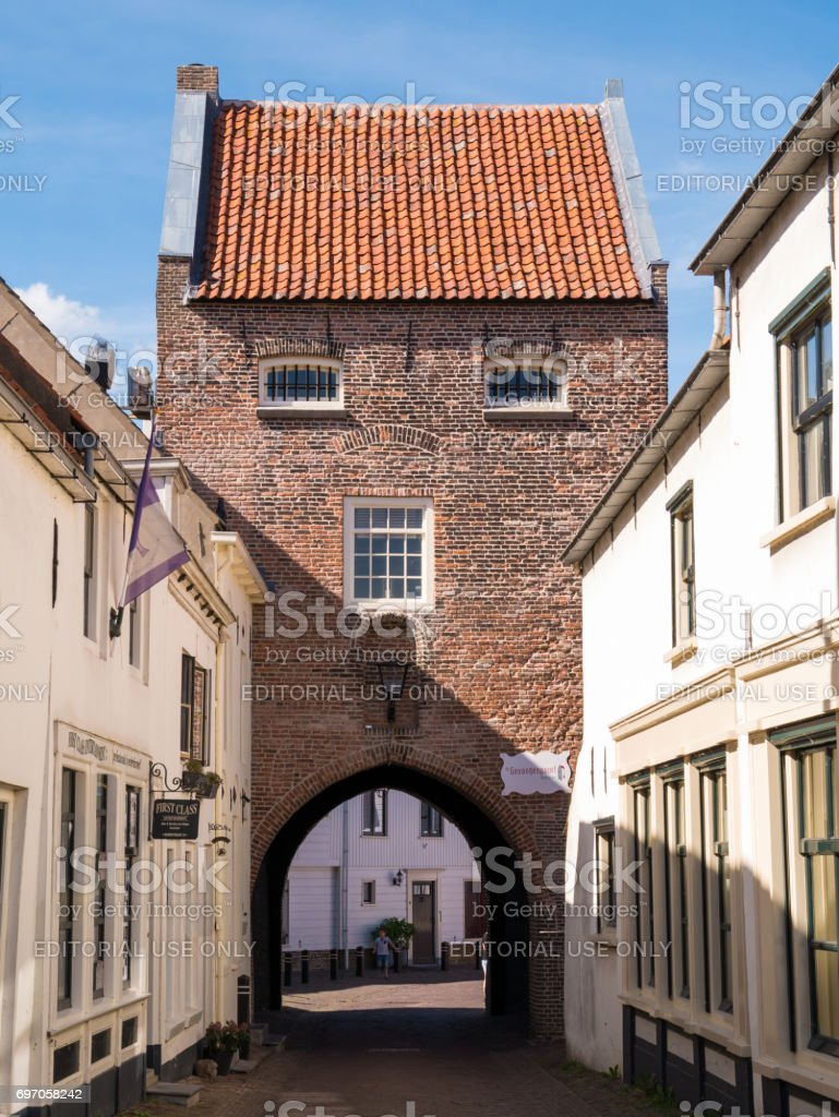 City gate in fortified town of Woudrichem, Netherlands stock photo