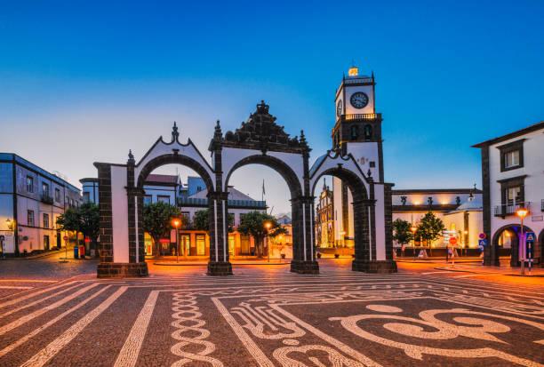 City Gates in Ponta Delgada at dusk (Azores) stock photo