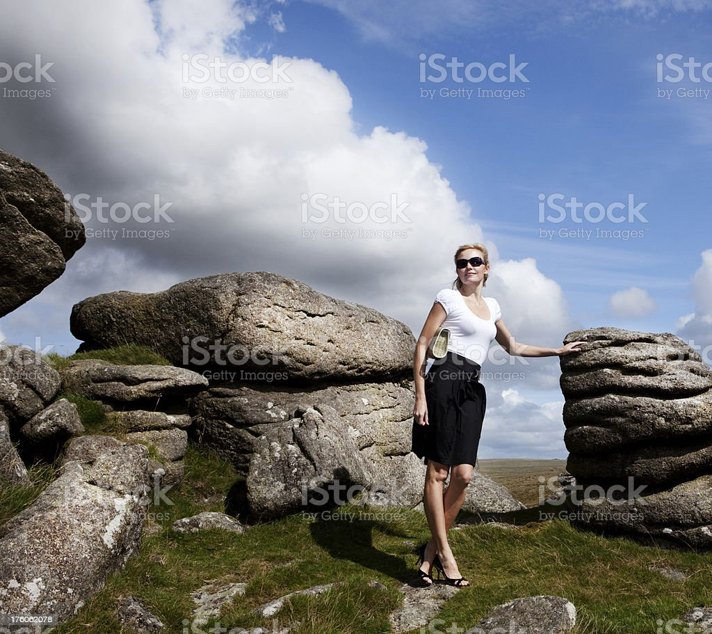 City girl in the country royalty-free stock photo