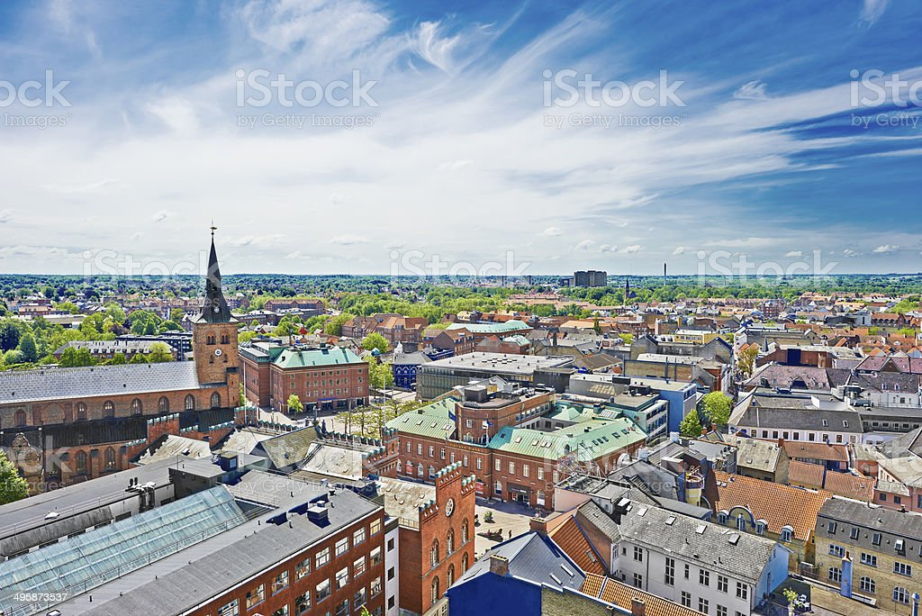 City Hall and Cathedral in Odense stock photo