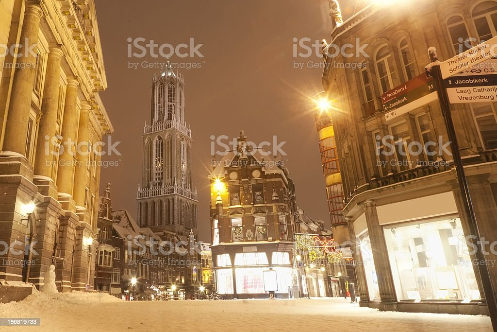 City Hall and Cathedral Tower in downtown Utrecht, The Netherlands stock photo