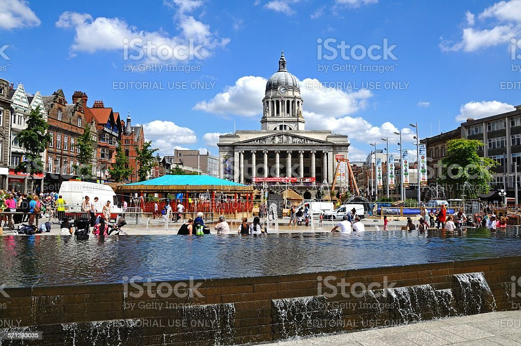 City Hall and Old Market Square, Nottingham. stock photo