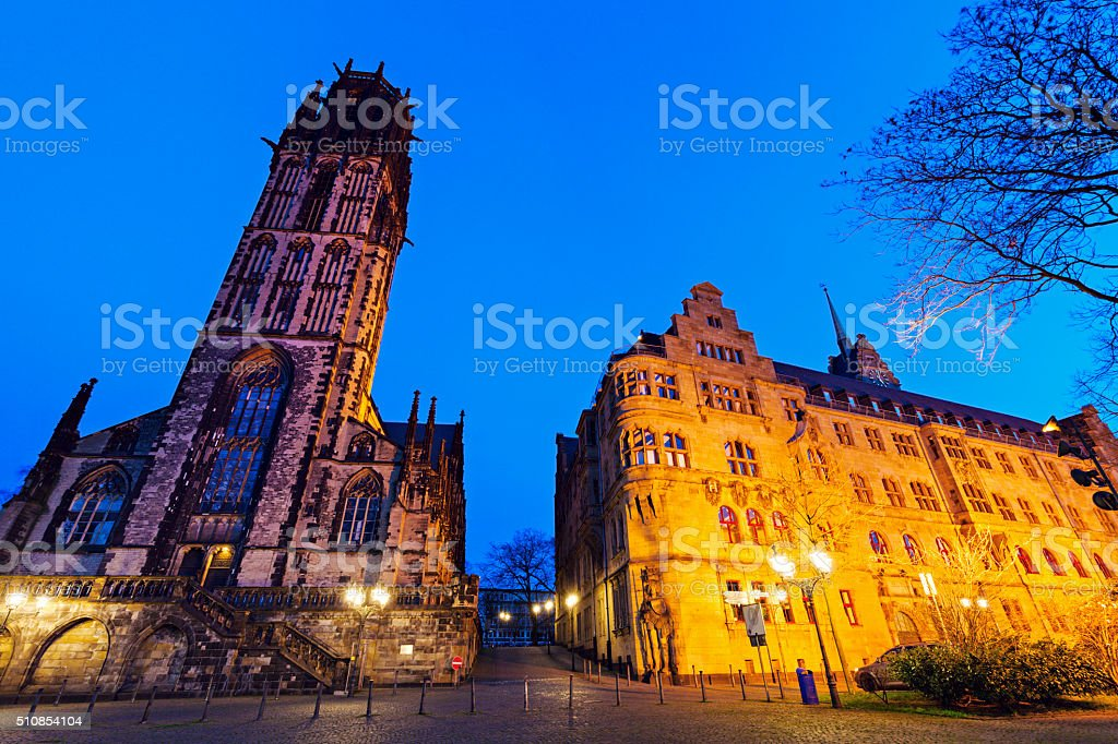City Hall and St. Salvador Church in Duisburg stock photo