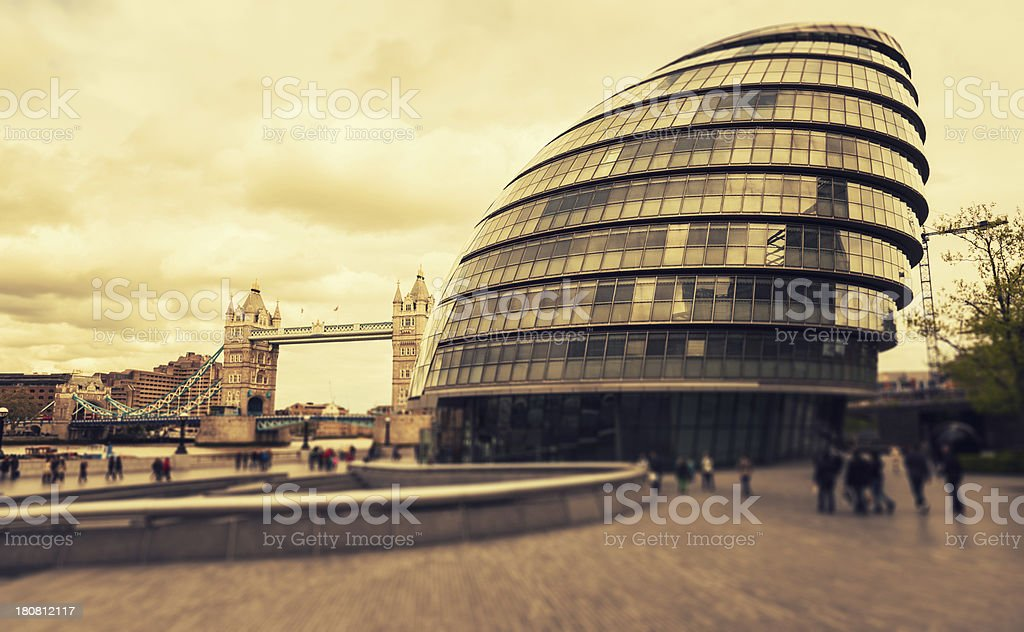 City Hall and Tower Bridge in London royalty-free stock photo